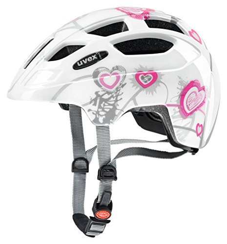 Uvex Kinder Finale Junior Mountainbikehelm, Mehrfarbig (Heart White pink), 51-55 cm