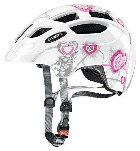 Uvex Kinder Finale Junior Mountainbikehelm, Mehrfarbig (Heart White pink), 51-55 cm