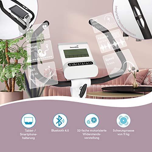 skandika Ergometer Hometrainer Elskling, Auswahl aus verschiedenen Sätteln, Magnetbremssystem, 11 kg Schwungmasse, 24 Trainingsprogramme, Tablet-Halterung, Bluetooth und App-Steuerung - 5