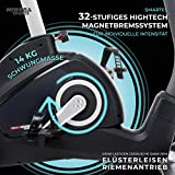 Miweba Sports Ergometer ME500 Trimmrad Cardio Heimtrainer - Streaming App - 14 Kg Schwungmasse - Magnetbremse - Pulsmesser (Black) - 6