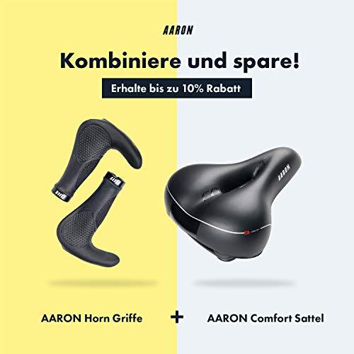 AARON Horn - Lenker Griffe mit Gel Dämpfung - ergonomische Lenkerhörner aus rutschfestem Gummi - Fahrradgriffe für E-Bike, Trekkingrad, Mountainbike, Tourenrad in schwarz - 6
