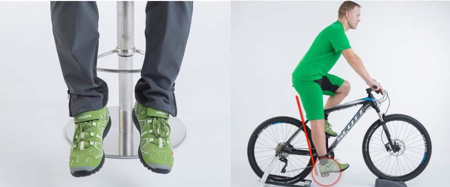 Sattelhöhe und Fußstellung