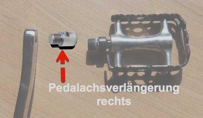 """Pedalachsverlängerung rechts für 9/16"""" Gewinde"""