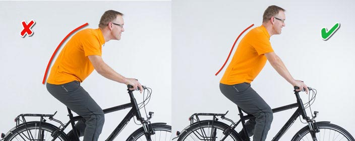 Falsche und richtige Rückenhaltung beim Radfahren