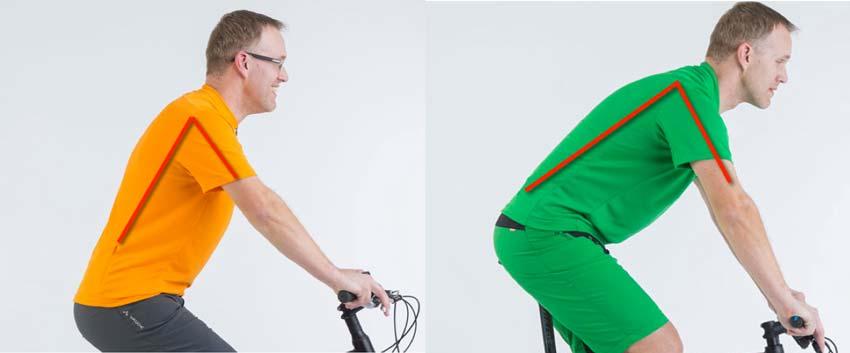 Verschiedene Oberkörperpositionen auf einem Trekking- und MOuntainbike