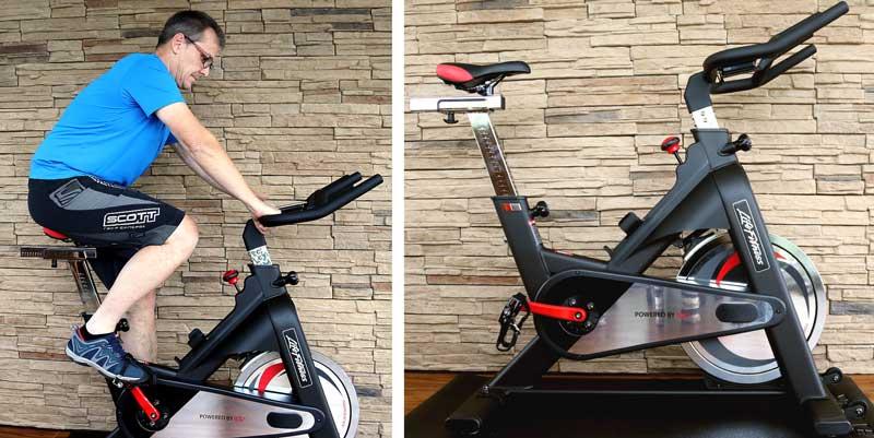 DAs Bild zeigt das Life Fitness im Spinning Bike Test