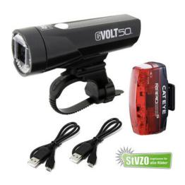 Cateye Gvolt 50 LED Fahrradlicht Set mit Rücklicht Rapid Micro G