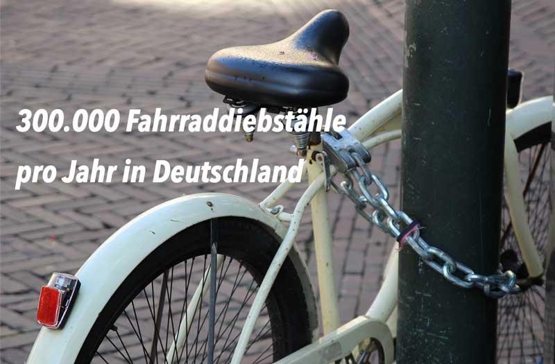 Täglich werden ca. 800 Fahrräder in Deutschland gestohlen.