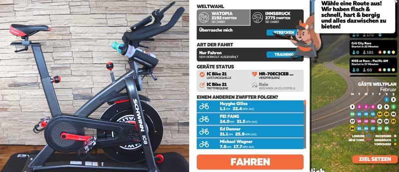 Das Bild zeigt das Schwinn IC8 Spinning Bike und die Zwift App