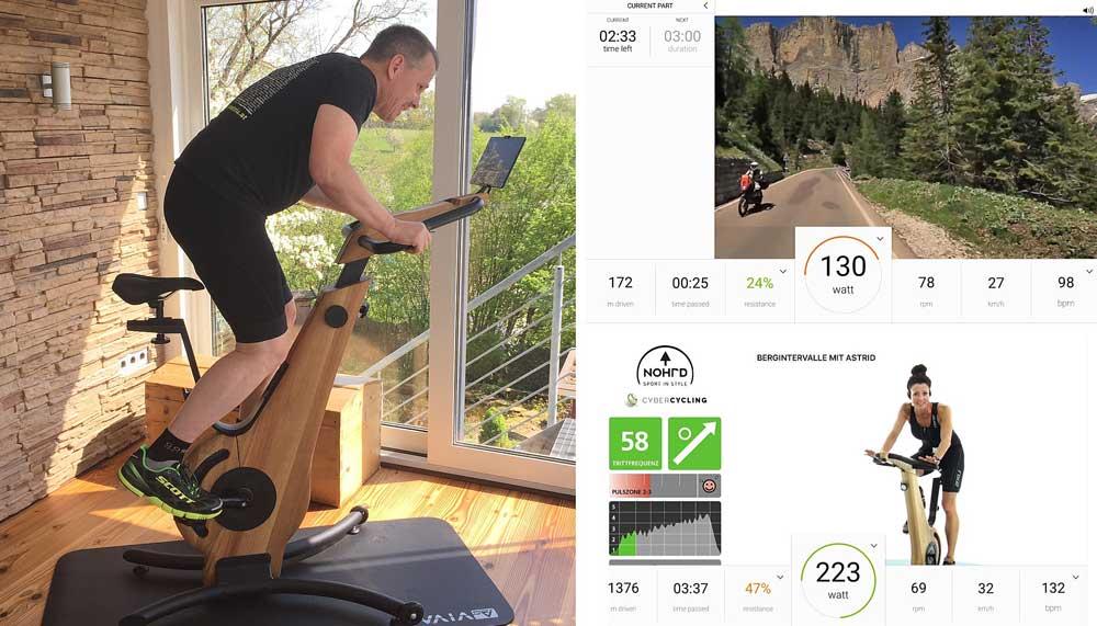 Das Bild zeigt den Test des Nohrd Bike Ergometers und verschiedene Anzeigen in der App.